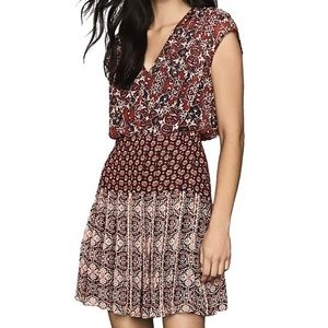 Reiss NWT Marcella Patchwork Printed Red MiniDress